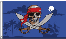 Pirate Skull On A Moonlit Night 5'x3' Flag